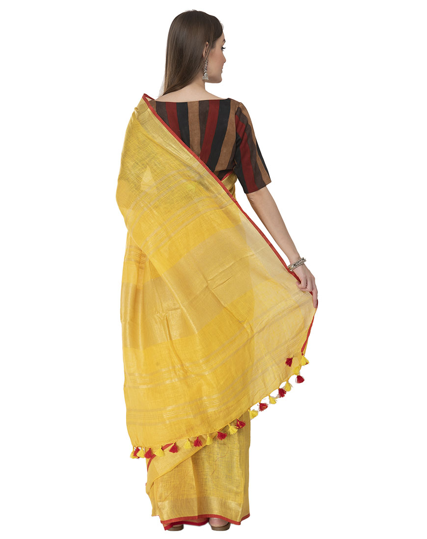 YELLOW LINEN RED STRIPE SAREE