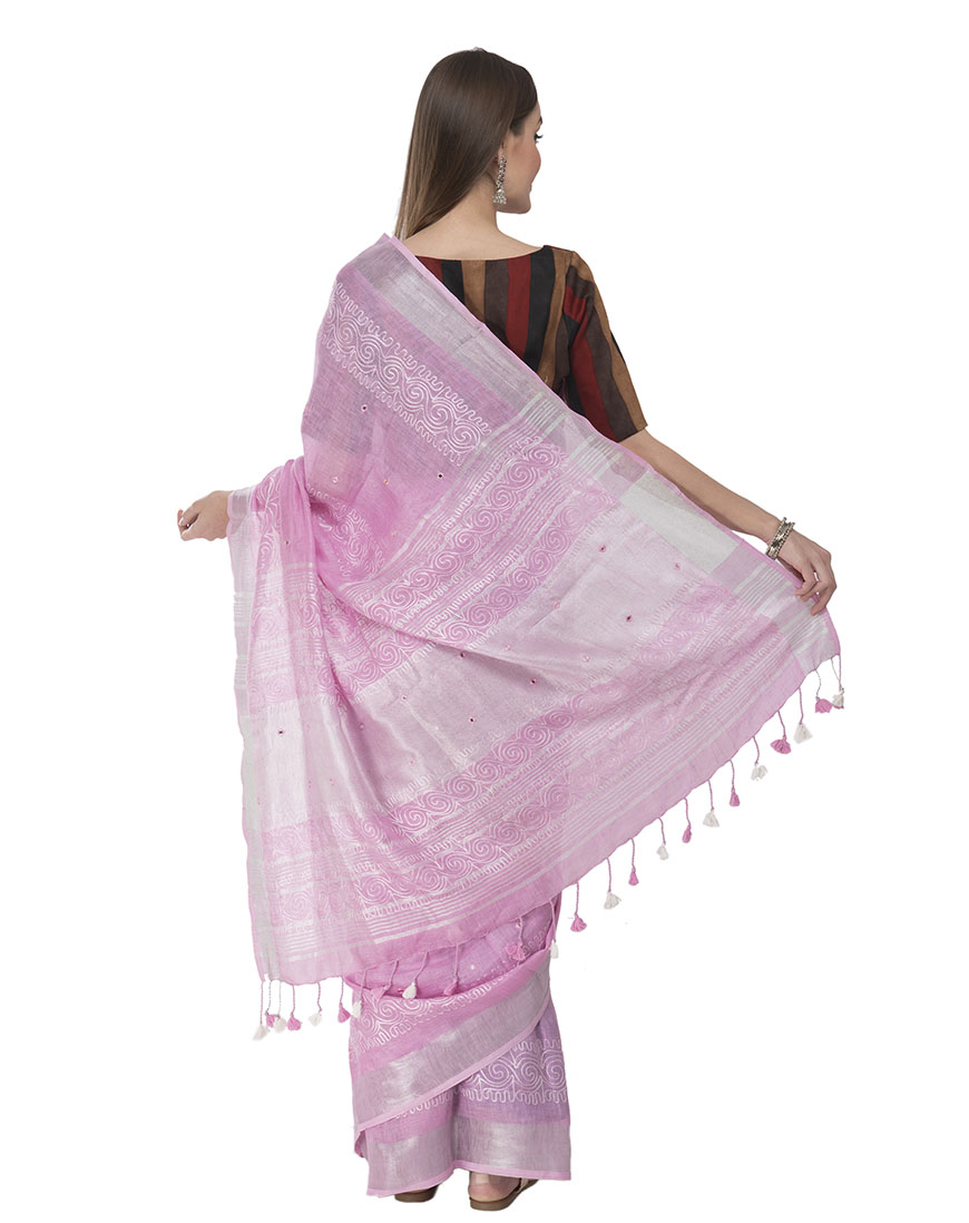 BEAUTIFUL EMBROIDERED PINK LINEN SAREE WITH RUNING BLOUSE