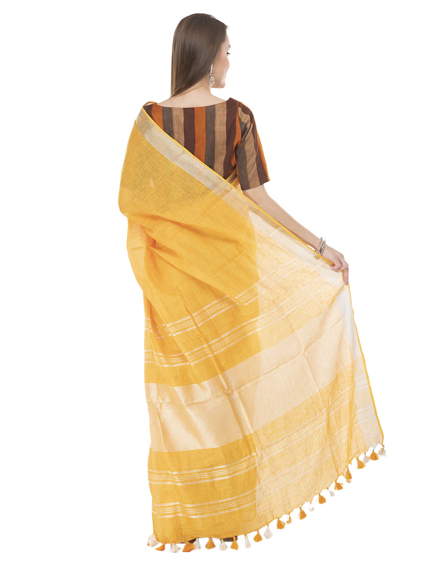 YELLOW ZARIPALLU LINEN SAREE