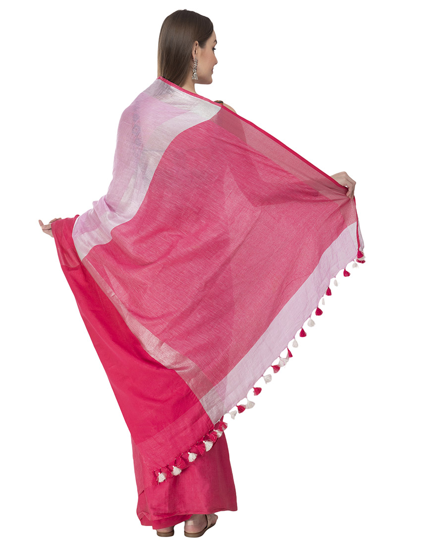 PINK AND DEEP PINK LINEN SAREE