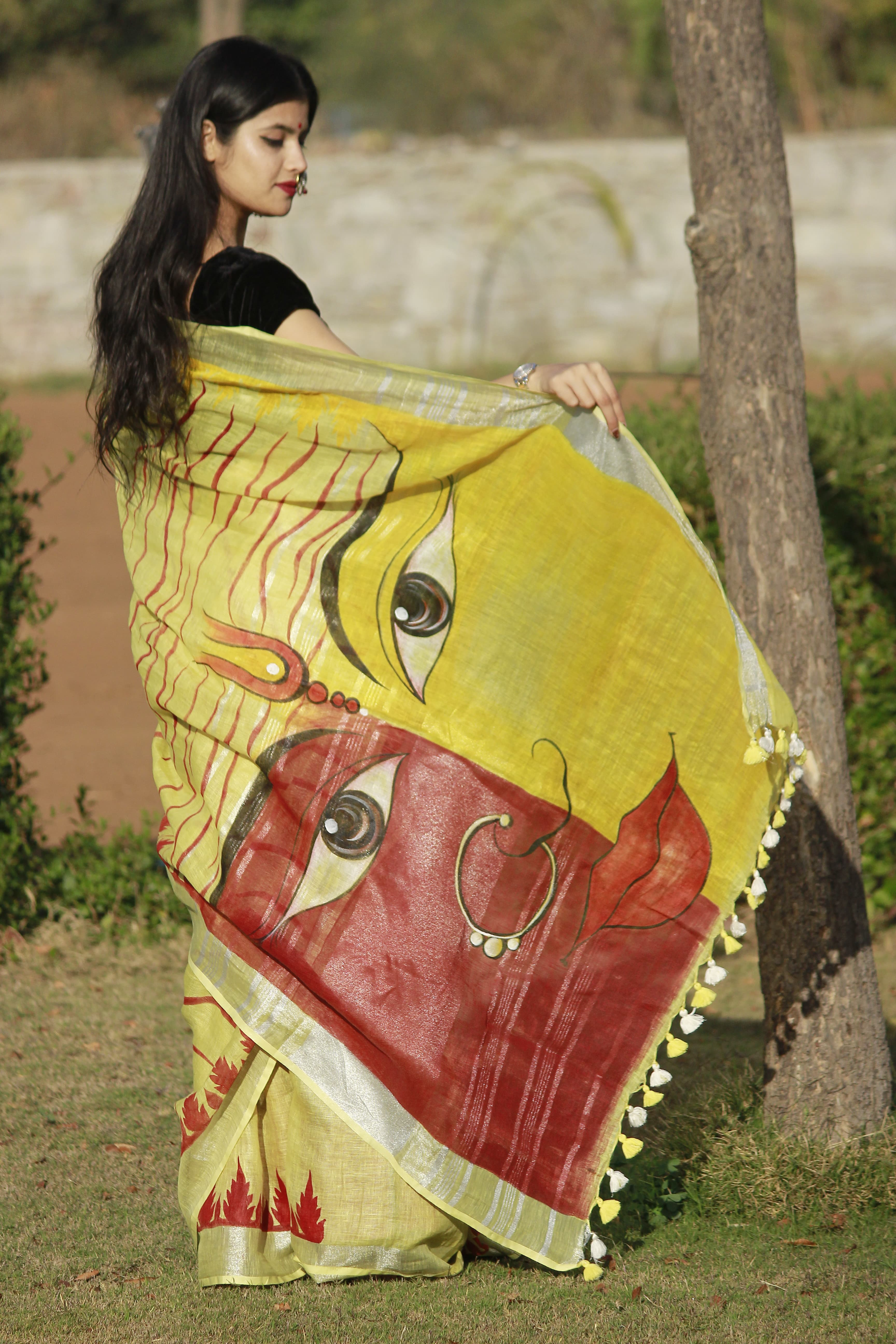 HANDPAINTED LAHERIYA LINEN SAREE