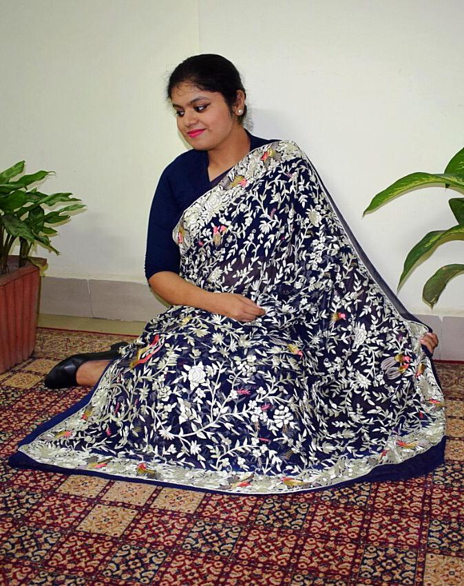 PARSI SAREE NAVY BLUE