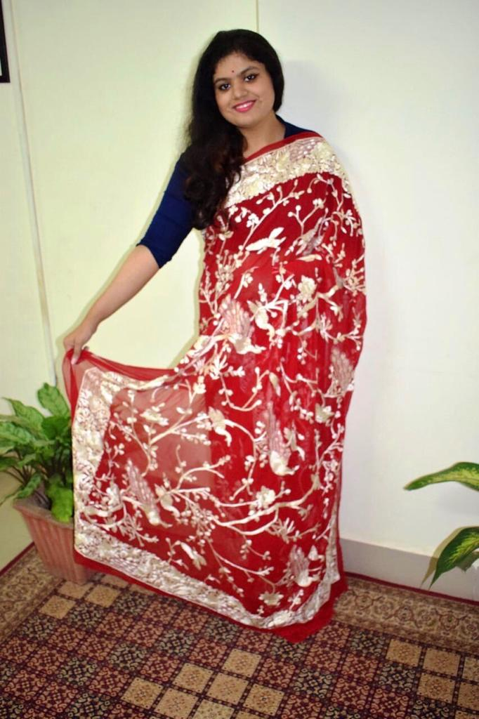 RED PARSI SAREE