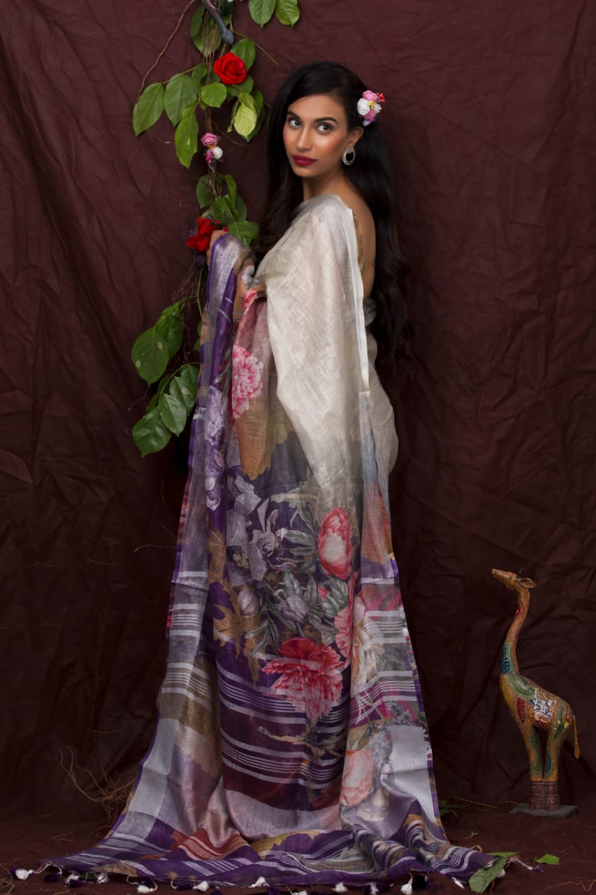 PURPLE SHADE FLORAL DIGITAL PRINT LINEN SAREE