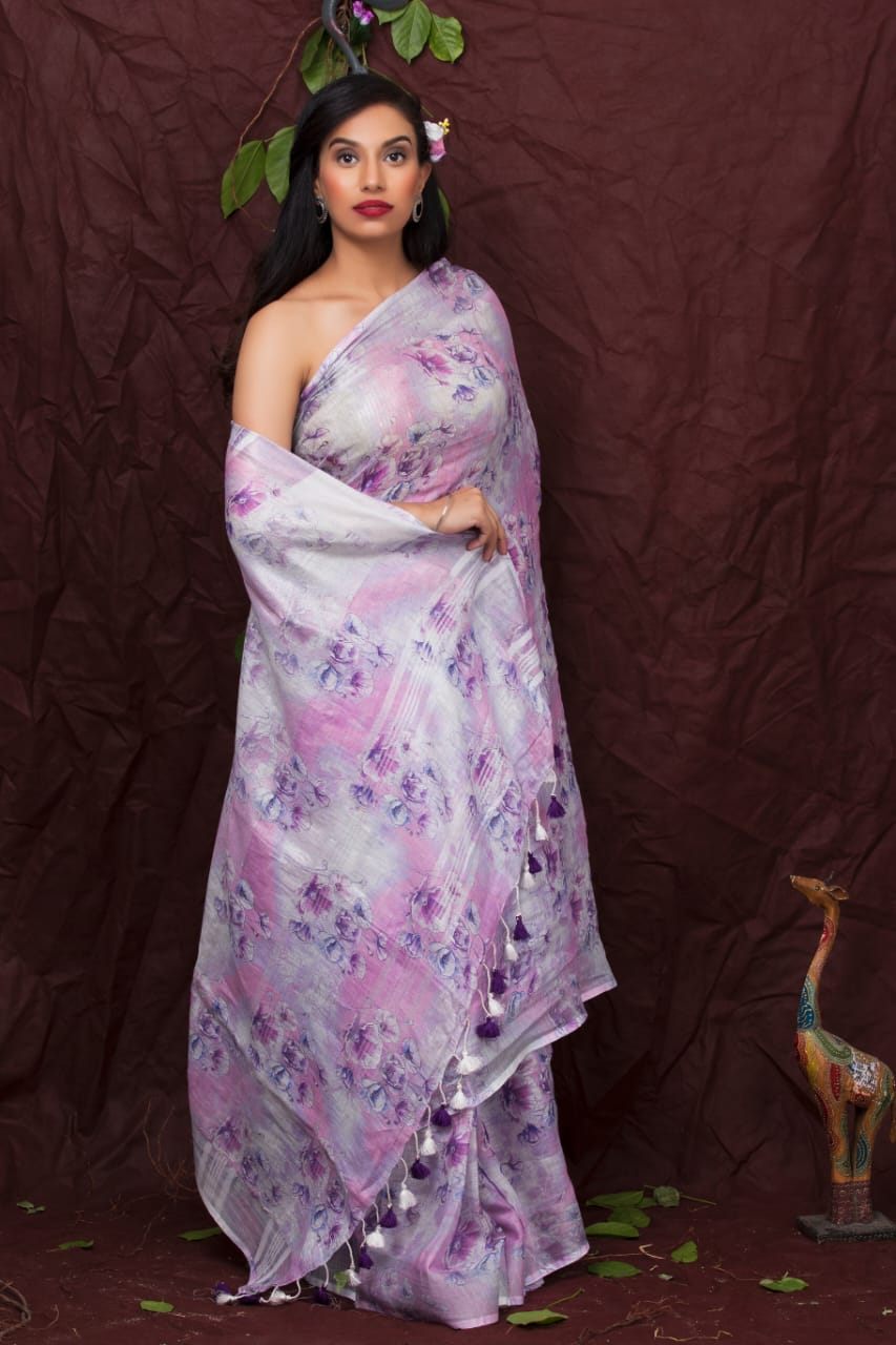 LIGHT COLOR FLORAL PRINT LINEN SAREE