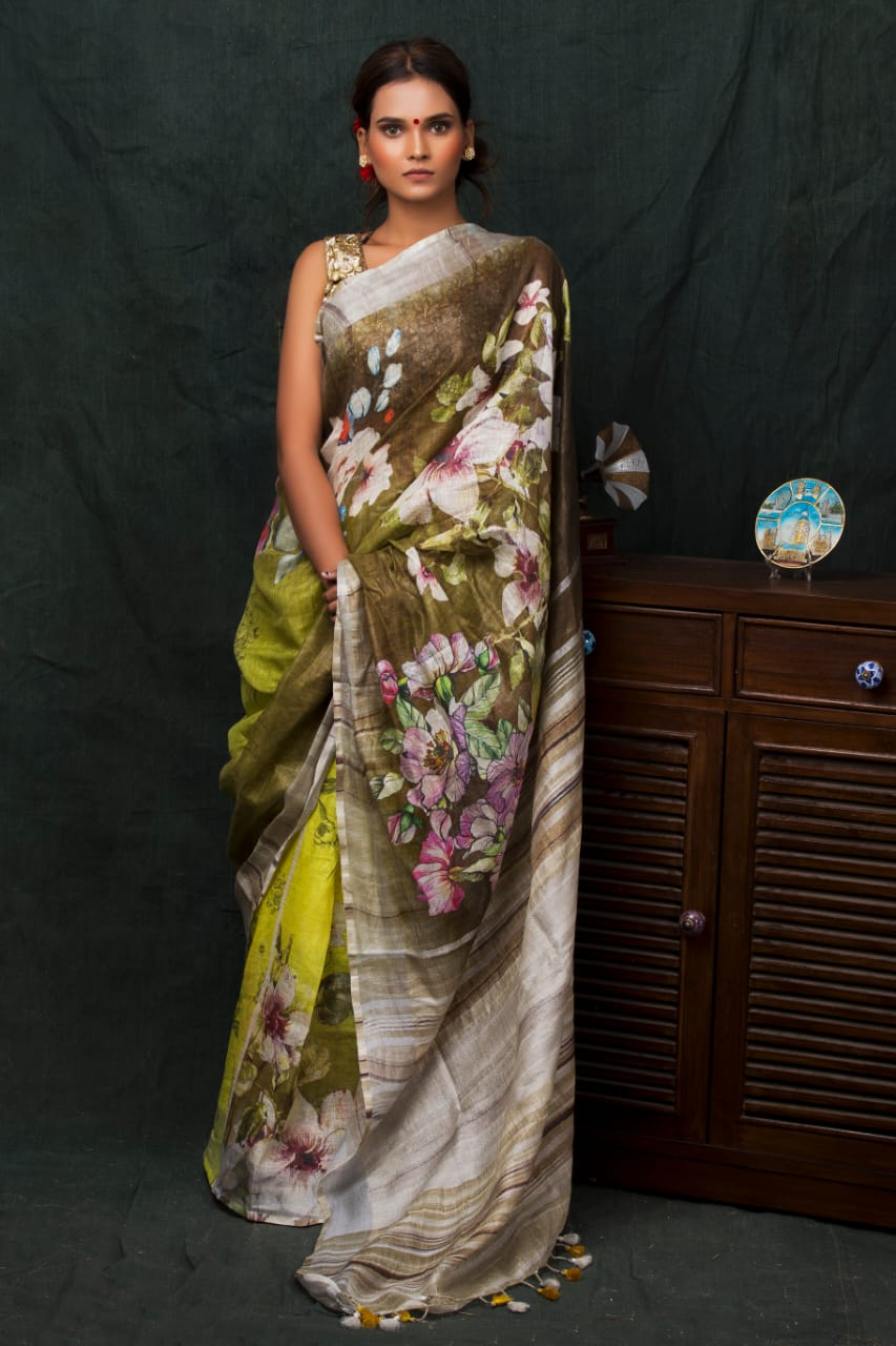 Yellow contrast digital printed linen saree