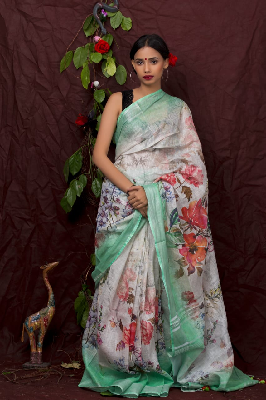 SEA GREEN CONTRAST PRINTED SAREE