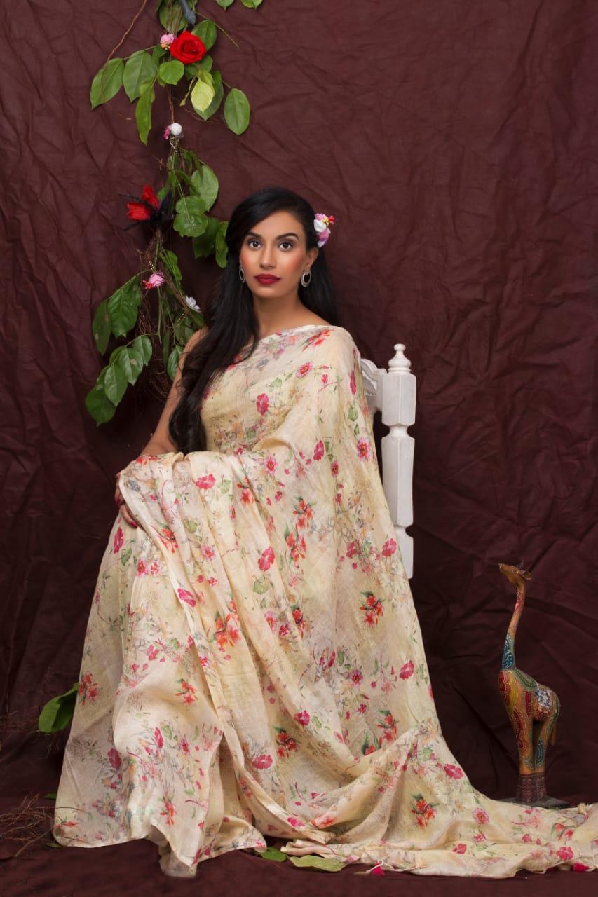 Creamy Print Floral Linen Saree