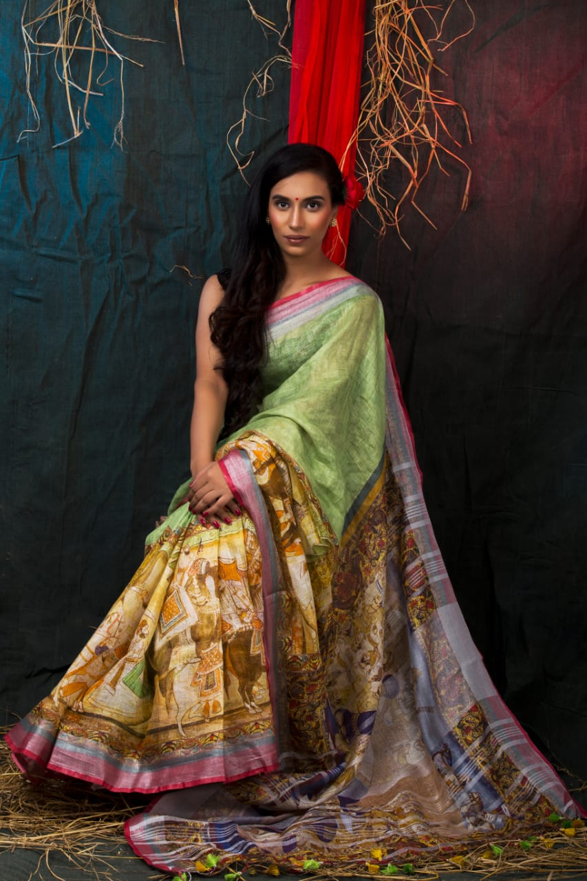 GREEN SHADED CONTRAST PRINT LINEN SAREE