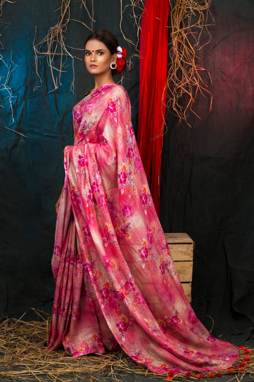 PINKISH FLORAL DIGITAL PRINT SAREE