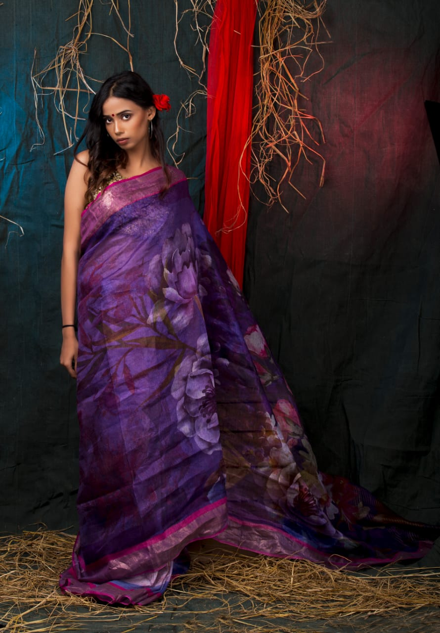 LINEN SILK PURPLE PRINT SAREE
