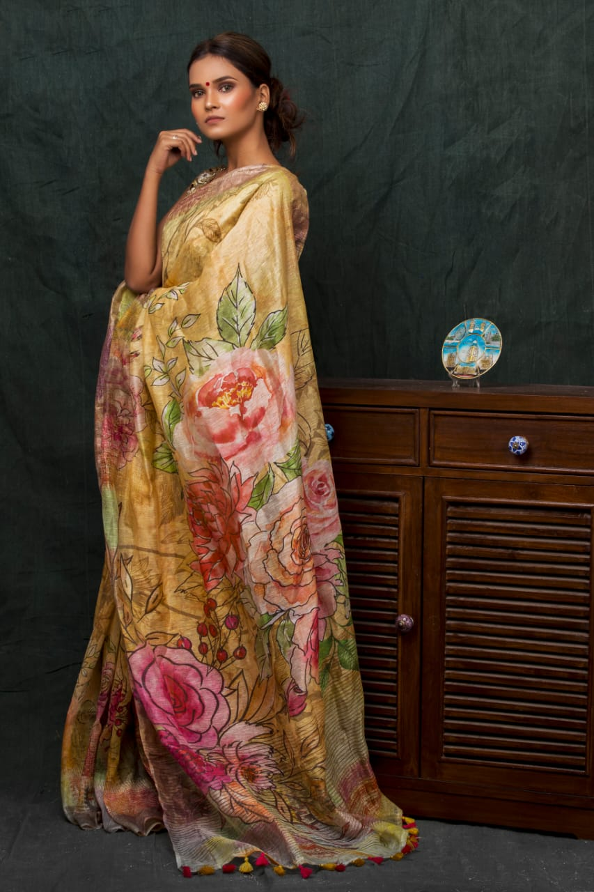 ROSE AND LEAF MOTIF LINEN SILK SAREE
