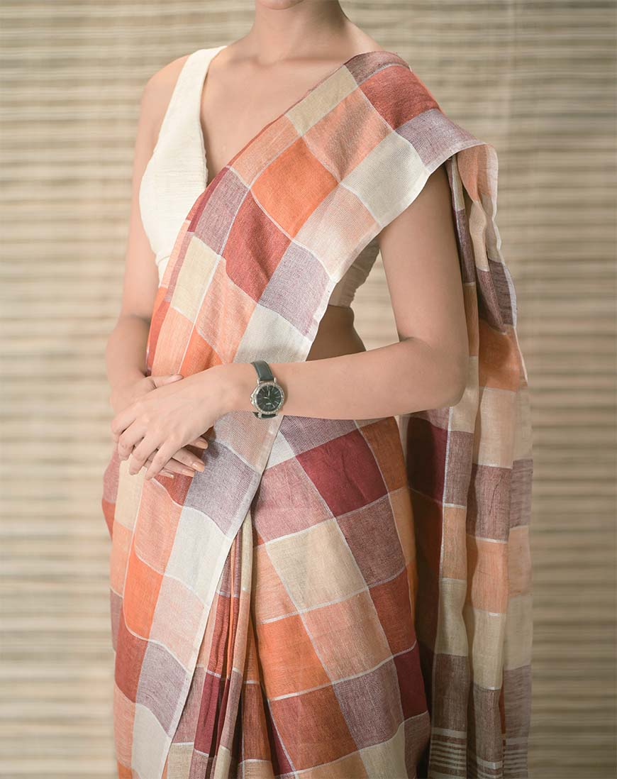 Handwoven Check Design Linen contemproary handwoven saree