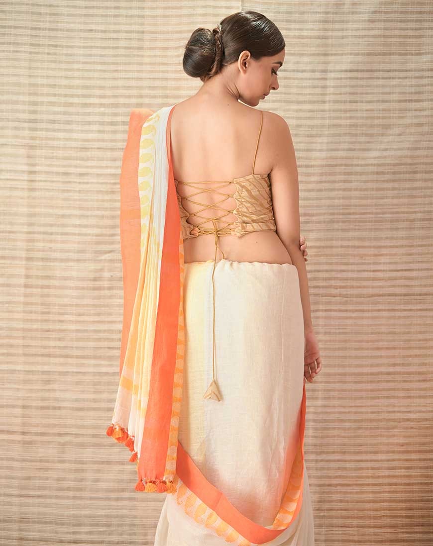 Creamy white orange Brocade pallu Linen Contemproary Handwoven Saree