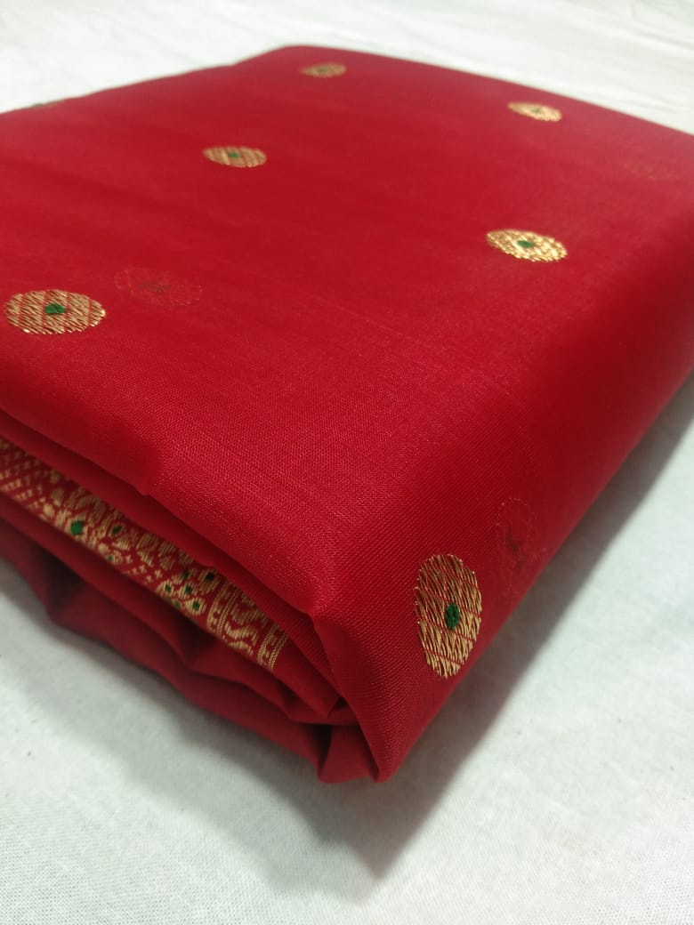 Red Katan Beautiful Silk  Maheshwari Saree